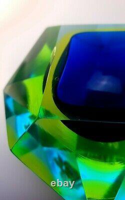 Rare Uranium Poisson Murano Mid-century Visage Mandruzzato Somerso Bowl Ashtray