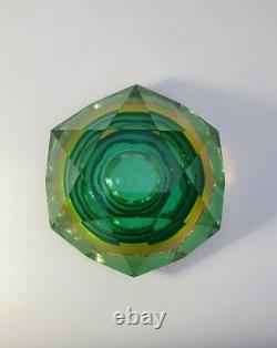 Rare Vaseline Sommerso Faceted Diamond Murano Bowl Cendrier Flavio Poli Space Age