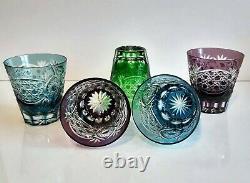 Rare Vintage Ajka Casé Coloré Coupé Pour Effacer Cristal Whiskey Verres, Ensemble De 5