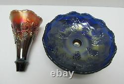 Rare Vintage Fenton Blue Carnival Art Verre Epergne Vase Scarce En Forme