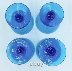 Rare Vintage Set 4 Verres À Cocktail Italien Carlo Moretti Blue Champagne Coupé