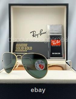 Ray Ban Aviator Rb3025k Lunettes De Soleil 160 / N5 Solid Polarisants Vert Or 18k Objectif 58