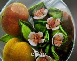 Rick Ayotte Fleurs Blanches Et De Fruits Peach Lt Verre Ed Paperweight, Ap 2.25x3.5