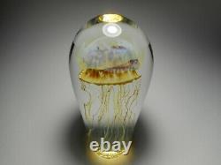 Satava Gold Amber Moon Méduses 6 1/4-inch-tall Art Glass Paperweight