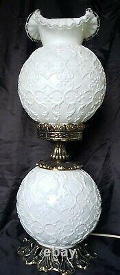 Scarcevintage Fenton Glass De Lait Espagnol Lace Double Ball Gww Parlor Lampe