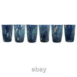 Set De 6 Verres D'art À Boire En Verre De Murano Tumbler Blue Hand Made Millefiori Set