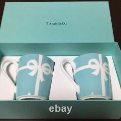 Tiffany & Co Bone China Blue Ribbon Box Paire De Porcelaine Mug Cup Set Cadeau