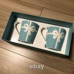 Tiffany & Co Ruban Bleu Porcelaine Paire Tasse Tasse Coffret Cadeau Limitée