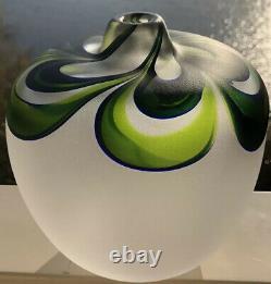 Unique! Goran Warff Kosta Boda Sweden Art Jewel Vase En Verre Givré, H 6, Mint