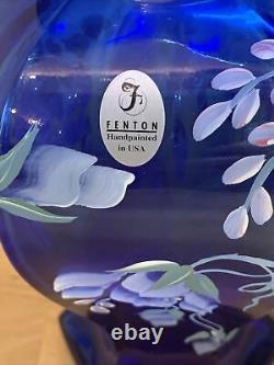 Vase De Célébration Bleu Du 75e Anniversaire De Fenton Cobalt Signé Par Bill Fenton