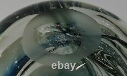 Vase En Verre D'art Paul Manners Stickman Studio Ocean Blue Vintage
