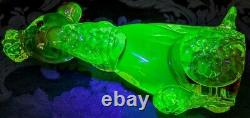 Vaseline Glass Murano Perfect Poodle 40's Withred Cased Green Glass Beauty