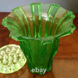 Vaseline Stolzle Bohême Moderniste Grand 9 Pouces X 8 Pouces Verre W-frog Vase 30's