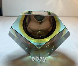 Verre De Murano Vintage, Mandruzzato Tricolore Faceted Geode Bowl Geometric Rare