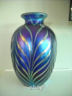 Verre Fenton Art Favrene Plumes Traîné Plume Dave Fetty Vase Limited Edition