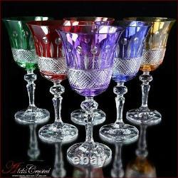 Verres À Vin En Cristal De Couleur Bohème 20 Cm, 220 Ml, Sharmel 6 Pc Nouveau
