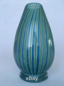 Vicke Lindstrand Colora Unik (unique) Vert Et Bleu Vase, Kosta, Mcm, Suède