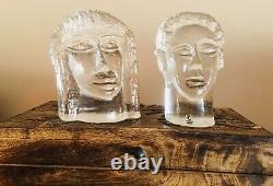 Vintage Erik Hoglund Signé Pukeberg Verreries Homme Femme Sculptures, C. 1980
