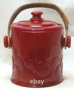Vintage Fenton Mandarin Red Macaroon Cookie Jar #1681-6 1/2 Aka Big Cookies