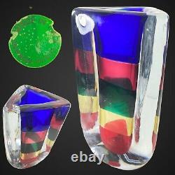 Vintage Murano Fulvio Bianconi Venini Vase Fasce Somperse Triangular Vase 1992