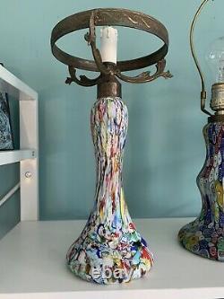 Vintage Tall Murano Lampe En Verre- Millefiori 16 Tall X 9 Large X 6 Base Nice