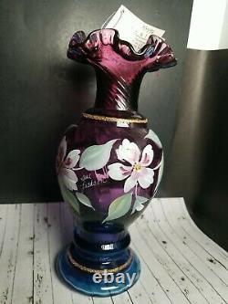 Vtg 1996 Vase D'or Opalescent Fenton Plum Signé Peint À La Main 8.75 50e Mûrier