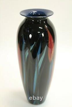 Vtg Rare 1999 Richard Rick Satava Art Verre Verre Lily Fleurs 15 Vase Signée
