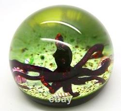 William Manson Beautiful Purple Octopus Art Glass 1992 Paperweight, Avr 2.5hx3w